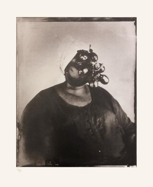 Khadija Saye with several dark and light oval shapes in front of her face