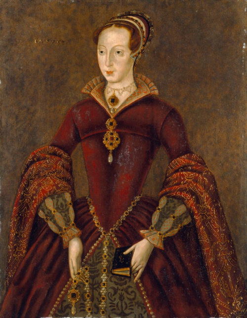 A portrait of Lady Jane Grey wearing a red dress and various jewels and holding a small book in her left hand.