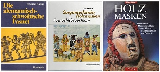 Three covers of books about Fasnacht traditions with pictures of masks and costumes