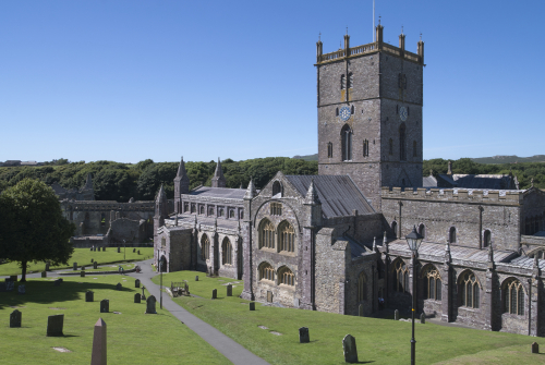 A view of St David's Cathedral and the Bishop's Palace.