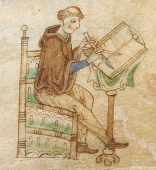 An illustration from a medieval manuscript, showing a scribe writing in a book.