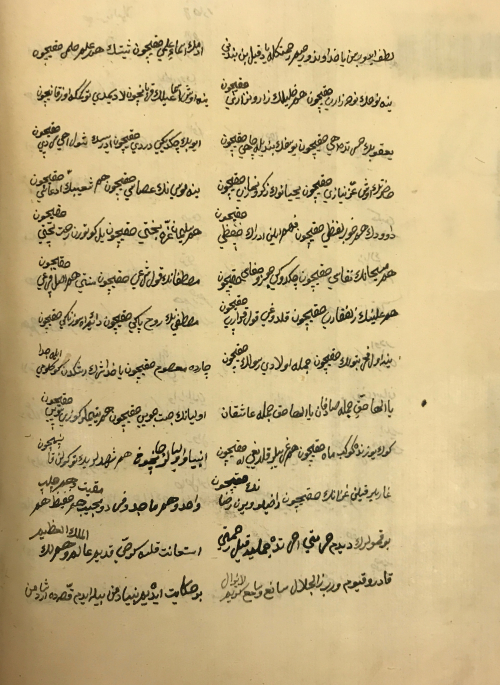 Page of Arabic-script text in black ink arranged in two columns