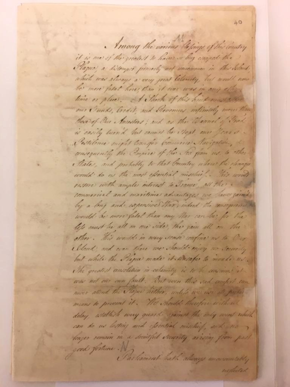 First page of Barrington's speech on measures of quarantine