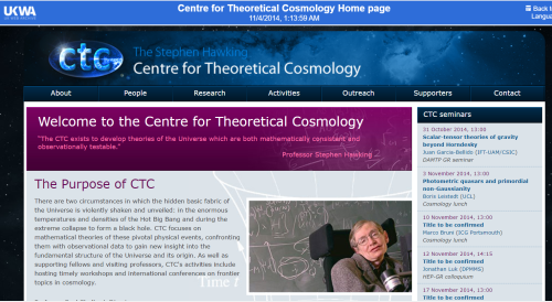 Centre theoretical cosmology website