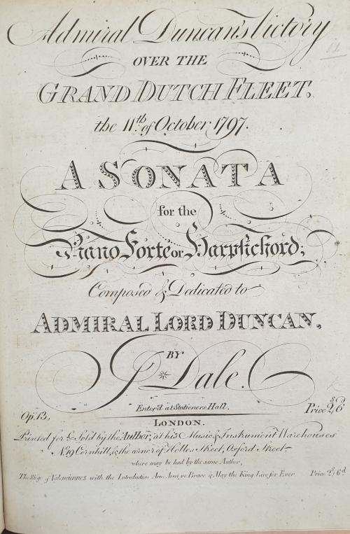Unadorned title page of Joseph Dale's publication commemorating The Battle of Camperdown