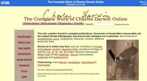 Darwin online website