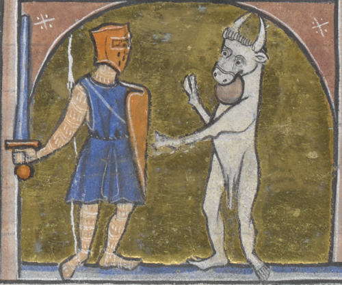A coloured manuscript illustration showing Theseus, on the left, facing the horned Minotaur, on the right