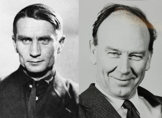 A combined photograph shows the faces of two white men.