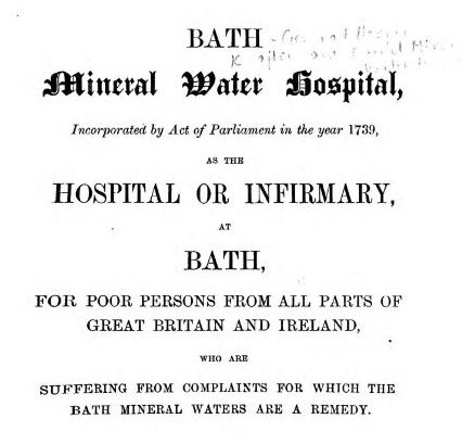 Description of the work of Bath Hospital from the title page of Bath Hospital Annual Statement 1858