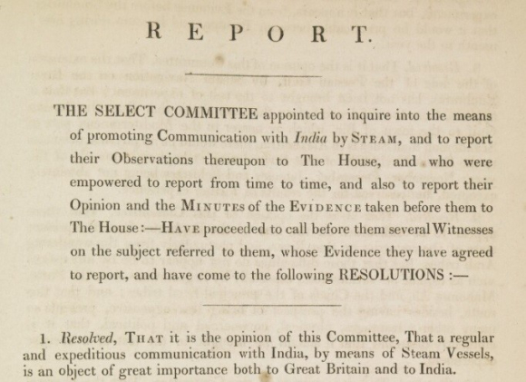 Opening of report recommending the Euphrates Expedition by the UK Parliament's Select Committee on Steam Navigation
