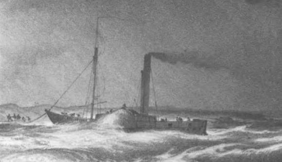 Drawing of the Tigris immediately before her sinking