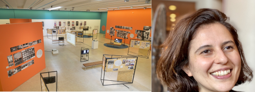Split image showing on the left a colour photograph of an exhibition space with free-standing black stands, movable orange walls, and cream and green structural wall, all with artwork on them; on right hand side, headshot of a woman with hair to her jaw, smiling