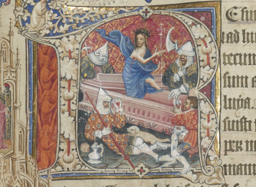 The Resurrection of Christ from the page for Easter Sunday in the Sherborne Missal