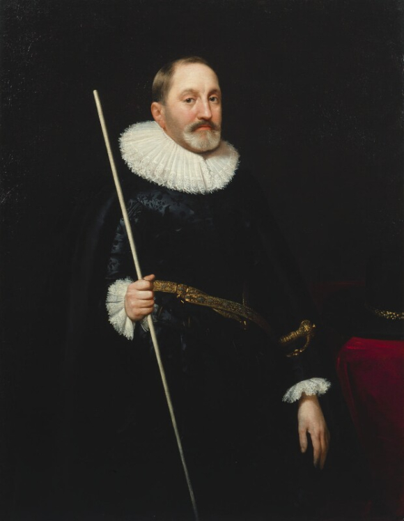 Oil painting of Sir Thomas Edmondes dressed in a dark suit and a white ruff