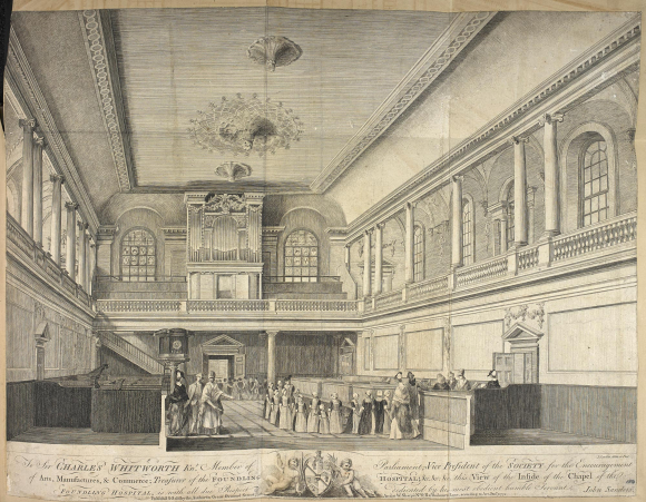 A view of the interior of the Foundling Hospital Chapel with lines of boys and girls leaving, supervised by staff