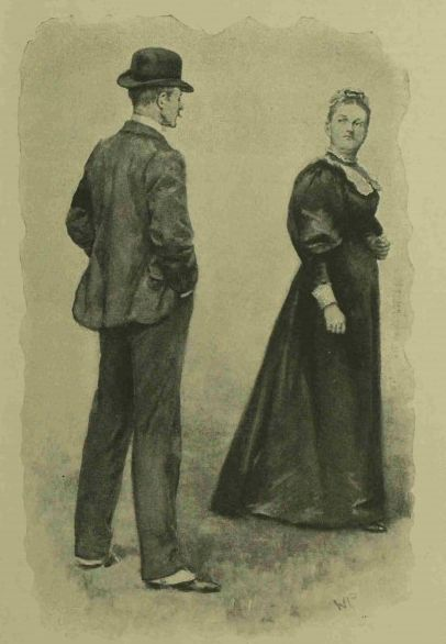 Woman in dark Victorian dress looking reproachfully at a man in a bowler hat