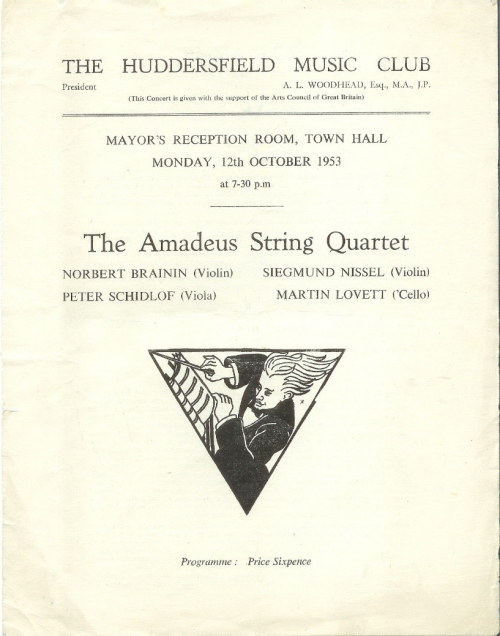 Huddersfield Music Club programme for concert given by the Amadeus String Quartet on 12 October 1953