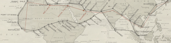 Extract of a map showing a proposed RAF air route between the UK and India  via Southern Arabia