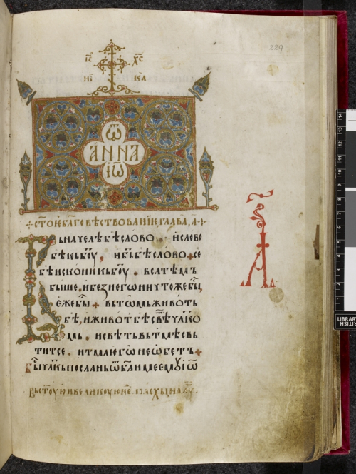 The Gospel of St John with floral decoration on gold background