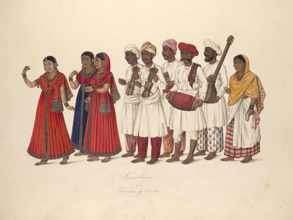 Company painting of 'Kanchani' dancing girls. In an album depicting trades and occupations at Vellore.