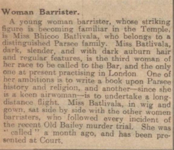 Bhicoo Batlivala - article in Dundee Courier 14 July 1932