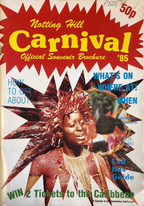 Magainze cover with image of a carnival goer in a headdress