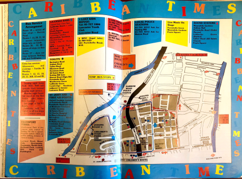 Street map of carnival with a colourful key for sound systems, transport, toilets