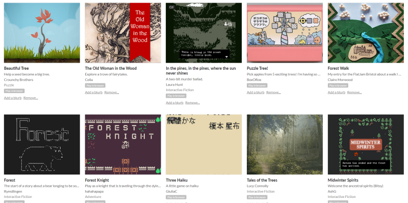 Screen capture of the Games in the Woods Inspiration collection itch.io website with thumbnails of the games