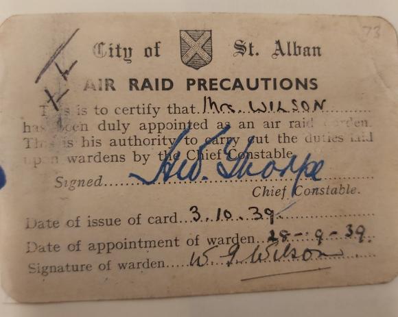 Air Raid Warden ID card for Winifred Wilson