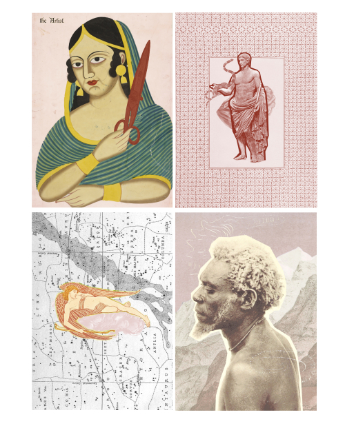4 collage images, a woman holding a large pair of scissors, a classical sculpture of a man holding a snake, an angel on a map and a profile of a man's face in front of a mountain range