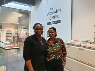 Loretta and Warda in Woolwich Library