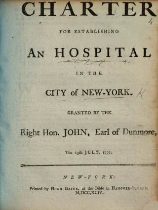 Charter for establishing an hospital