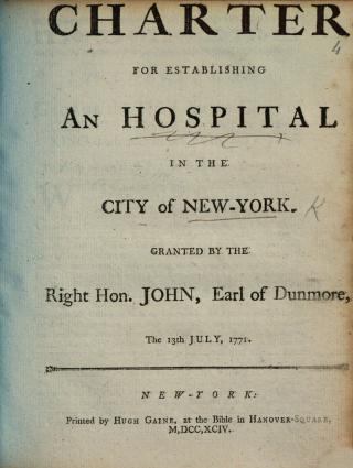 Charter for establishing an hospital