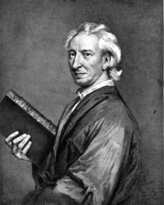 An engraving of a white-haired man in academic dress, holding a large leather-bound book