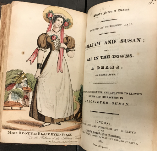 The illustrated frontispiece to the Lloyd's Juvenile Drama edition (1829) of 'Black-Eyed Susan' showing a full page illustration of a woman with a fruit decorated hat and a red sash.