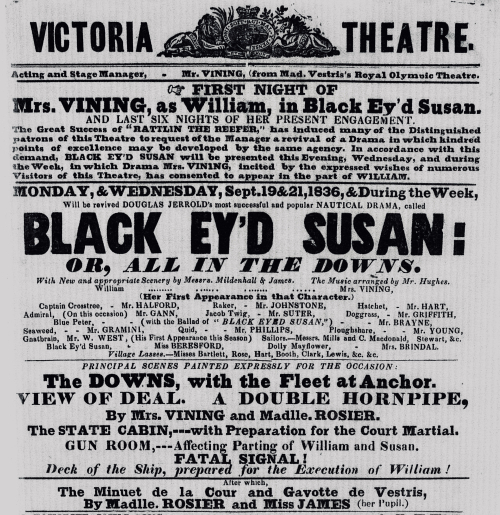 Photograph of playbill advertising Black Ey'd Susan