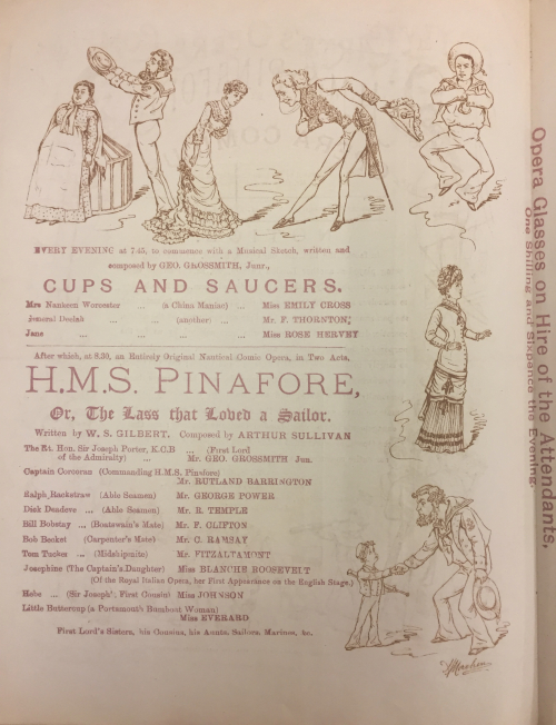Page from the programme for H.M.S. Pinafore at the Olympic Theatre.