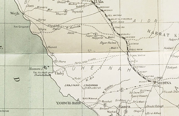 Outline map of Hejaz