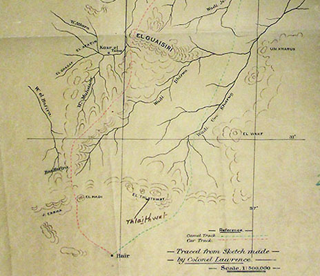 Tracing of sketch map made by T.E. Lawrence
