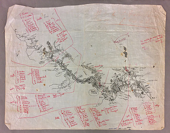 Sketch map of Hejaz made by T.E. Lawrence