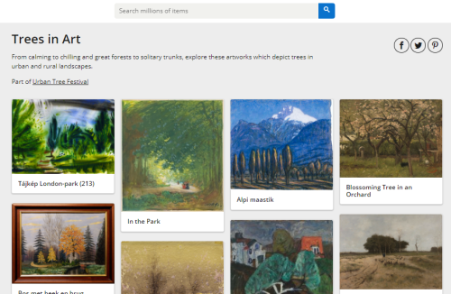 Thumbnail pictures of paintings of trees from a website gallery