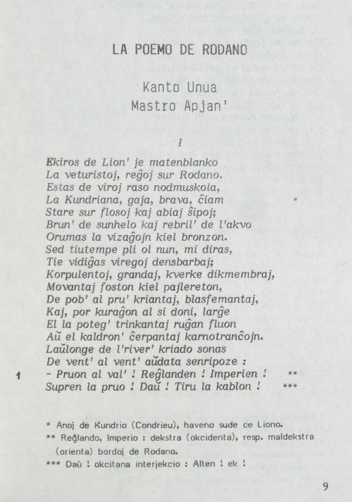 First stanza of the Esperanto translation of Le Poème du Rhône