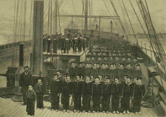 Boys of the training ship Wellesley from the Illustrated London News 2 December 1876