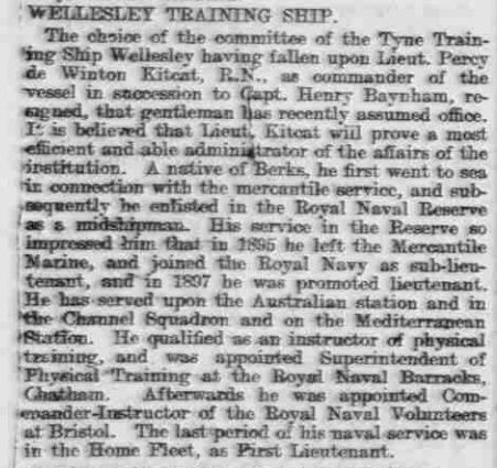 Article in Newcastle Daily Journal 18 July 1910 on Kitcat's appointment to the Wellesley Training Ship