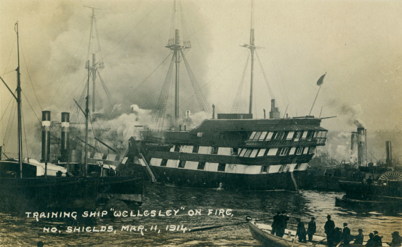 Wellesley training ship on fire 1914