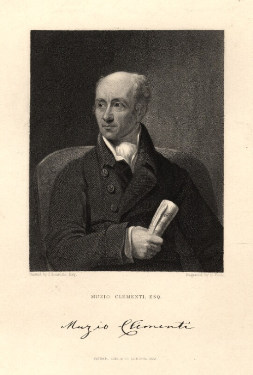 Engraved portrait of Muzio Clementi holding a score