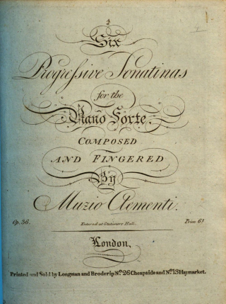 TItle page of Clementi's Six progressive sonatinas op.36 for piano