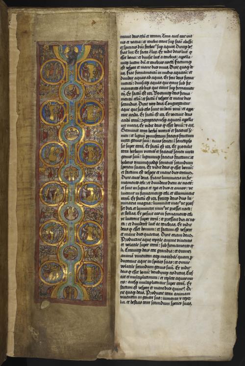 Genesis initial 'I'(n), small scenes depicted in roundels