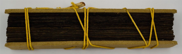 A bound palm leaf manuscript