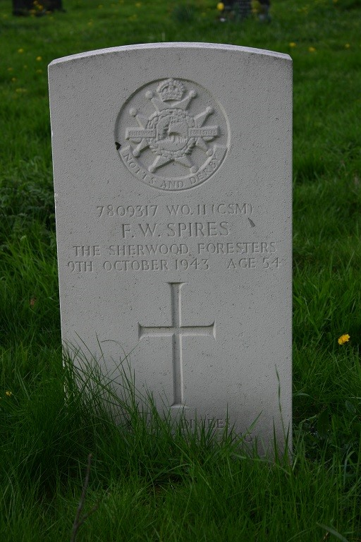 Gravestone Of Frederick William Spires at Findern Church, Derbyshire